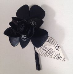 Black Guitar Pick Boutonnière or Lapel Flower For Grooms Wedding