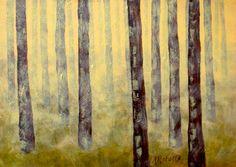 Misty Forest Landscape Painting Original 5x7 by annarobertsart