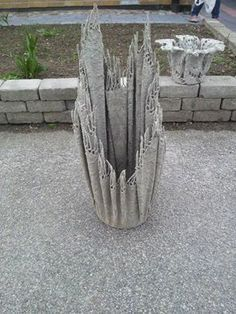 how to make cement water to dip fabric in to make pots - Google Search #concretegarden
