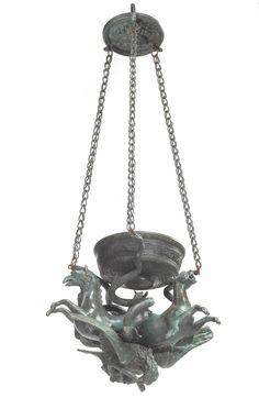 An Italian Grand Tour patinated bronze lantern 19th century