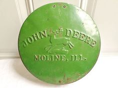 Antique Vintage Metal John Deere JD Planter Seed Box Lid Farm Repurpose!