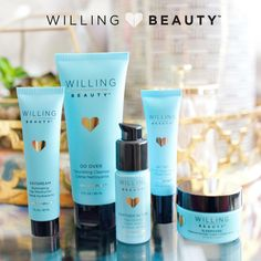 Willing Beauty adult skin care line includes a 5 step daily regimen with HY+5 (hyaluronic acid, vitamin C, prickly pear cactus seed oil, antarctic glycoproteins, alpine edelweiss flower, deep sea hydrothermal enzymes) complete with Do Over cleanser, Day Dream moisturizer, Get Set SPF 30 sunscreen, Partner in Time anti-aging serum, and Sleepover night cream.  https://www.facebook.com/groups/659420917571000/  #willingbeauty #skinregimen #cleanser #HY+5 #chemicalfree #antiaging