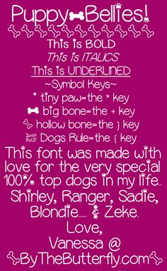 free font for dog lovers! Puppy Bellies Font   dafont.com