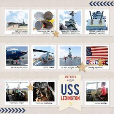 Scraps of Shirlee: USS Lexington aircraft carrier Corpus Christi scrapbook page layout