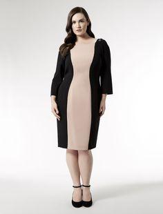 Marina Rinaldi plus size DUETTO black: Two tone dress with jewel shoulders.