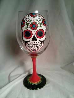 Sugar Skull Hand Painted Wine Glass Dia De Los by PaintFromScratch