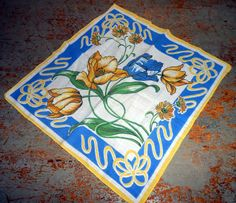 Vintage Handkerchief Floral Tulips Yellow Blue by TheBackShak
