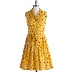 ModCloth Vintage Inspired Mid-length Sleeveless Shirt Dress You're featuring polyvore women's fashion clothing dresses yellow modcloth vestido vintage apparel fashion dress shirt dress polka dot dress yellow dress yellow shirt dress vintage polka dot dress