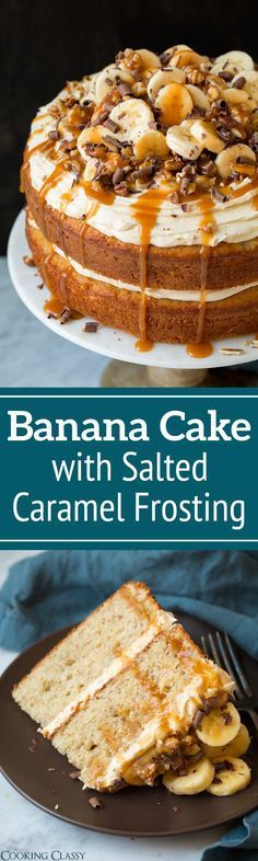 Banana Cake with Salted Caramel Frosting - Cooking Classy (Banana Cheesecake Recipes) Food Cakes, Cupcake Cakes, Rose Cupcake, Just Desserts, Delicious Desserts, Fall Desserts, Baking Desserts, Health Desserts, Cake Recipes To Impress