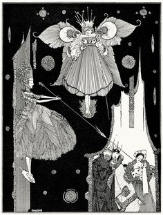 At this very instant the young fairy came out from behind the hangings.  Harry Clarke, from The fairy tales of Charles Perrault, London, 1922.