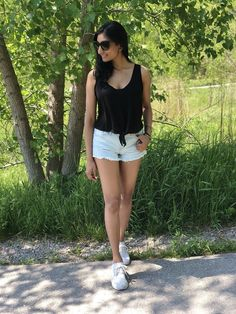 Shop the look from styleofshah on ShopStyle Ultraboost Outfit Women, White Shorts, Denim Shorts, Light Denim, Black Tie, Casual Outfits, Cozy, Adidas, Clothes For Women