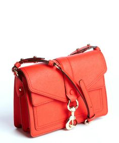 Rebecca Minkoff scarlet red leather 'Hudson Moto' mini studded bag...colorful little every day bag.