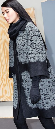 Dolce & Gabbana's Lace Applique Coat is the ideal jacket for every autumn occasion on your calendar.