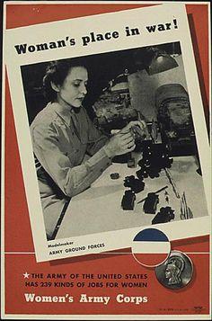 World War II Posters: Women in the Military: Woman's Place in War: Modelmaker