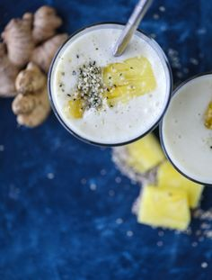 Pineapple Ginger Smoothie | Vegan, dairy free, gluten free, paleo, and vegetarian. | Click for healthy recipe. | Via How Sweet It Is