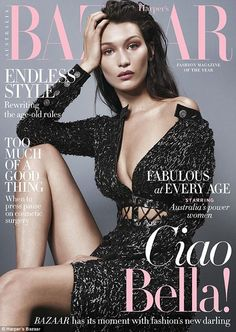 Stunner! Bella Hadid works her best angles and looks as fierce as ever on the cover of Harper's Bazaar Australia's August issue