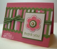 handmade card ... three colors from striped paper ... white, green and pink ... like the rick rack strips bordering the striped band .. sweet flower  ... knotted ribbon ...  lovely card! ...Stampin' Up!
