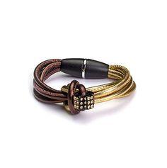 CRISTALUNA® bracelet aus braunem und goldfarbenem  Leder mit Magnetverschluss und einer schwarzen Kugel oder Stern aus Acrylglas, besetzt mit SWAROVSKI®ELEMENT Kristalle in Light Colorado Topaz #Leder #Knoden #Magnetverschluss
