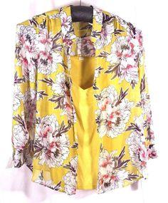 Liz Claiborne Woman Size 3X Blouse with Tank Twin Set Lemon Curry Floral Top NWT #LizClaiborne #BlouseandTank #Career