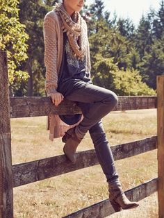 Comfy cardigan and cozy scarf for fall.