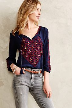 Astrograph Peasant Blouse - anthropologie.com