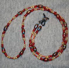 Red Eyeglass Holder Eyeglass Lanyard Eyewear Chain | LazyHCreations - Accessories on ArtFire