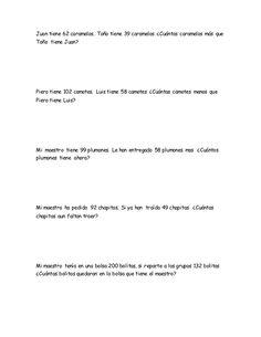 Ejercicios de matematica - problemas 2do grado de primaria