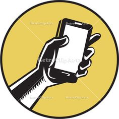 Hand Holding Smartphone Circle Woodcut Vector Stock Illustration. Illustration of a hand holding smartphone set inside circle on isolated background done in retro woodcut style. #illustration  #HandHoldingSmartphone