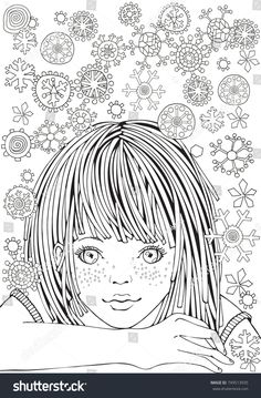 Cute Girl. Pattern for adult coloring book page. Winter snowflakes. Sketch. Hand-drawn vector illustration. Zentangle patterns.