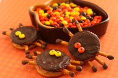 Ritzy Halloween Spiders with Peanut Butter, Pretzels & Chocolate,
