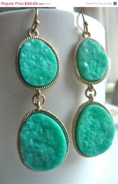 AFTER XMAS SALE Aqua Green Blue Round Druzy by JeweltoneJewelry, $25.60