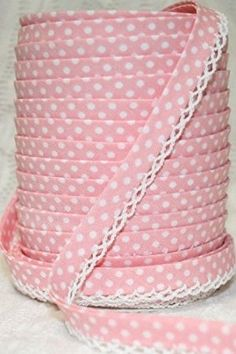 Pale Pink Lace Edged Polka Dot Double Fold Bias on a 3m length (N.B. this is a cut from a roll)