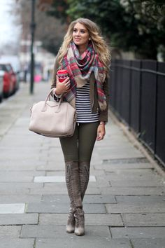 Mixing stripes & tartan. Love this from head to toe!