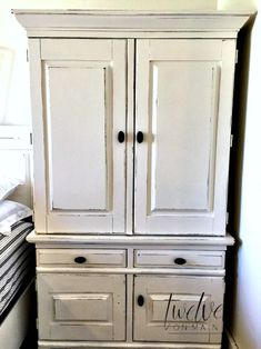 painted armoire distressed with latex paint and chalky paint additive, Johnson's paste wax