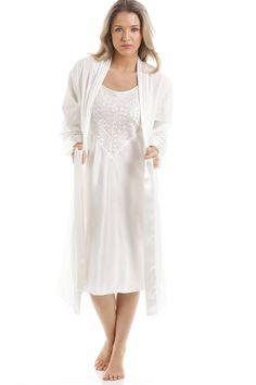 ec6b644c33 Camille Ivory Medium Length Cotton Wrap with Satin Chemise Set 14 16 Ivory  Wedding Night