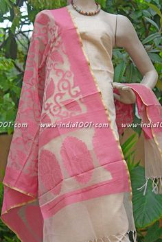 Stunning Silk Cotton Unstitched Suit fabric | India1001.com