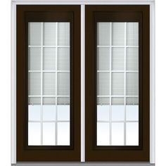 Milliken Millwork 66 in. x 81.75 in. Classic Clear RLB GBG Low-E Full Lite Painted Fiberglass Smooth Exterior Double Door, Brown
