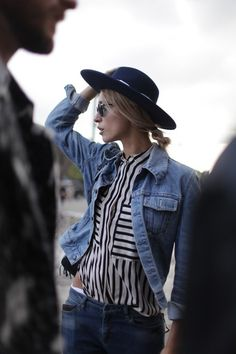 jean jacket, stripped collared shirt, jeans, hat, sunnies