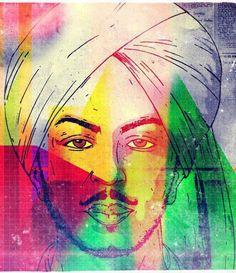 Bhagat Singh Illustration; Multicolor