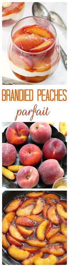 Brandied peaches and ricotta cheese parfait recipe