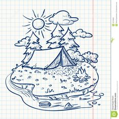 Illustration about Cute camping landscape (doodle version). Illustration of fire, meadow, cloud - 19716033 Tent Camping, Camping Hacks, Camping Ideas, Camping Checklist, Camping Essentials, Drawing Sketches, Art Drawings, Fire Drawing, Drawing Pin