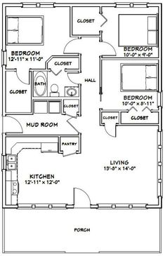 Small House Floor Plans, House Plans One Story, Modern House Plans, Story House, Modern House Design, 3 Bedroom Floor Plan, 2 Bedroom House Plans, Cottage House Plans, Bedroom Décor