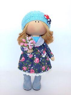 Купить Куколка Снежка - Снежка, тыквоголовая кукла, тыквоголовка, большеножка, Большеголовка, интерьерная кукла