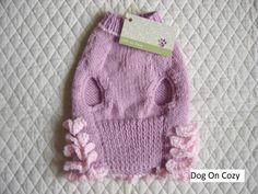 Ruffled Dog Sweater Hand Knit Pet Sweater Size XSMALL