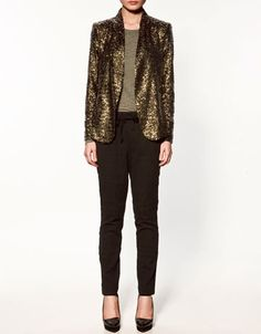 BLAZER WITH SEQUINS - Collection - Blazers - Collection - Woman - ZARA United States - StyleSays