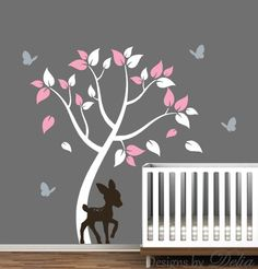 ♥♥♥♥ Included ♥♥♥♥ 1 Tree - tall by wide (Comes in separate pieces for easier installation) 1 Deer - tall by wide 4 Butterflies Leaves Directions for applying your decals ♥♥♥♥ Colors ♥ Bambi Nursery, Baby Girl Nursery Themes, Nursery Wall Decals, Baby Boy Rooms, Nursery Room, Nursery Decor, Nursery Ideas, Baby Room, Babyroom Ideas
