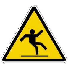 High cognitive effort. This sign is to caution that the floor is slippery but requires high cognitive effort because it does not clearly state it's meaning.