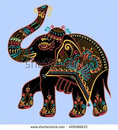 Royalty-Free Vector Images by kara-kotsya (over Painted Indian Elephant, African Elephant, Indian Elephant Tattoos, Dot Painting, Fabric Painting, Mandala Indiana, Elefante Hindu, Peacock Wall Art, Madhubani Art