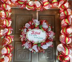 Christmas, Jesus is the Reason for the Season deco mesh wreath and matching garland and lights