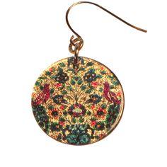 4120-84 -  Red Birds Floral Pattern Earrings originjewelry.net
